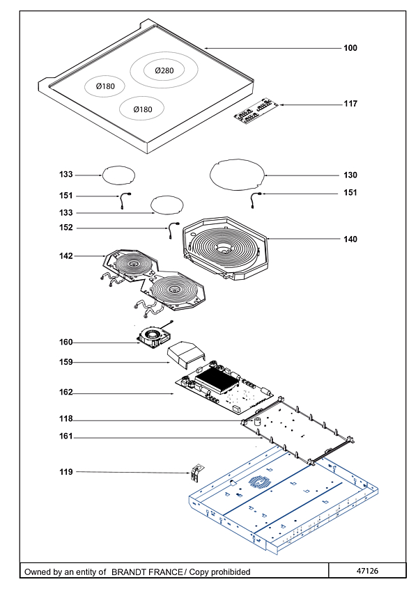 DCI1593W / DCI1593W4 - Vue éclatée 1