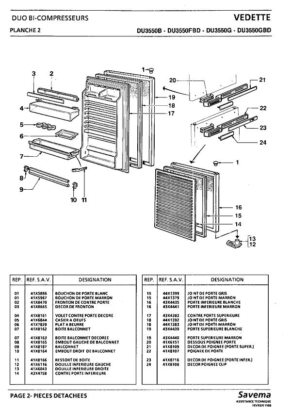 DU3550 / DU3550B - Vue éclatée 4