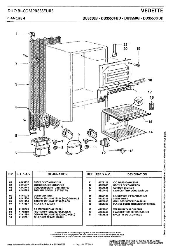 DU3550 / DU3550B - Vue éclatée 1