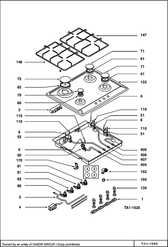 STE964X / STE964X1 - Vue éclatée 1